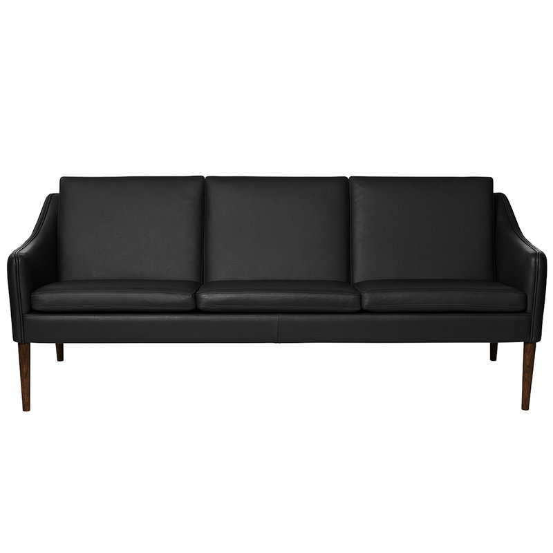 Warm Nordic Mr Olsen sofa, 3-seater, walnut - black leather ...