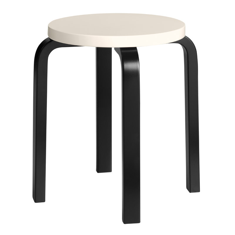 Artek Aalto stool E60, cream - black