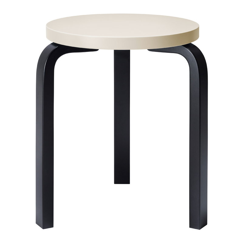 Brilliant Aalto Stool 60 Cream Black Creativecarmelina Interior Chair Design Creativecarmelinacom