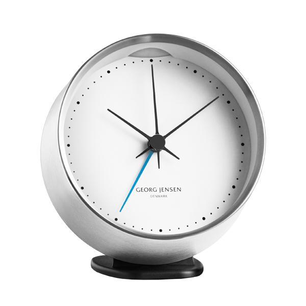 Georg Jensen HK clock with alarm, stainless steel