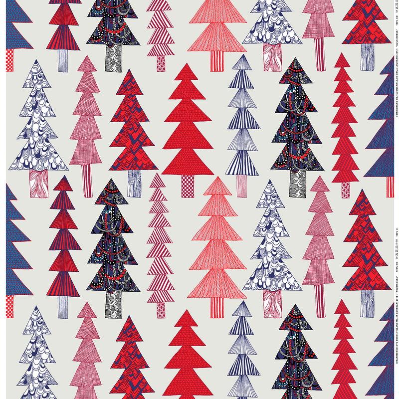 Marimekko Kuusikossa Fabric Light Grey Red Blue