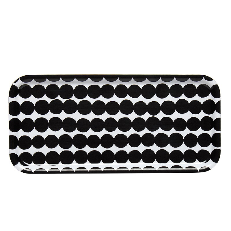 Marimekko Räsymatto tray 15 x 32 cm, black-white