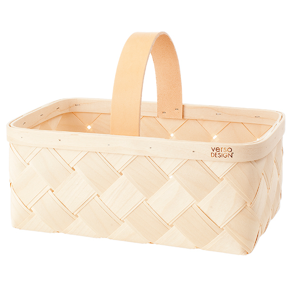Verso Design Lastu mushroom basket, leather handle, S