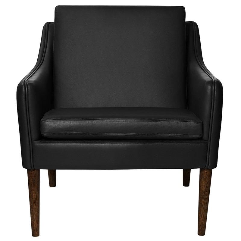 Warm Nordic Mr Olsen nojatuoli, pähkinä - musta nahka