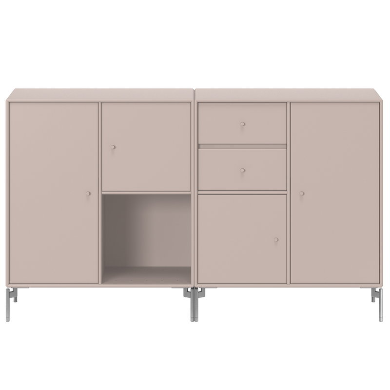 Montana Furniture Couple sideboard, matt chrome legs -  137 Mushroom