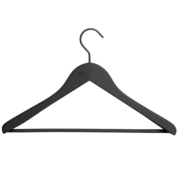 Hay Soft coat hanger with bar, wide, black, 4 pcs | Finnish Design