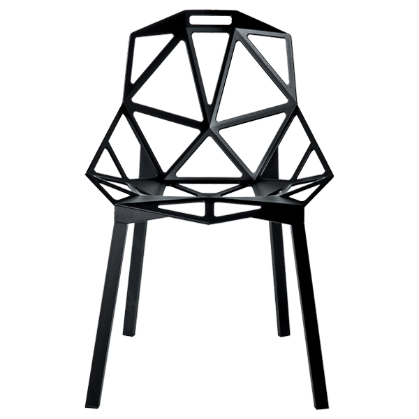 Magis Chair One, black, painted aluminium legs