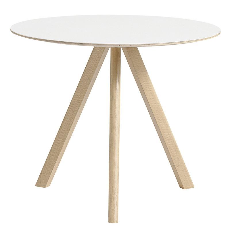 Hay CPH20 round table 90 cm, matt lacquered oak - white laminate
