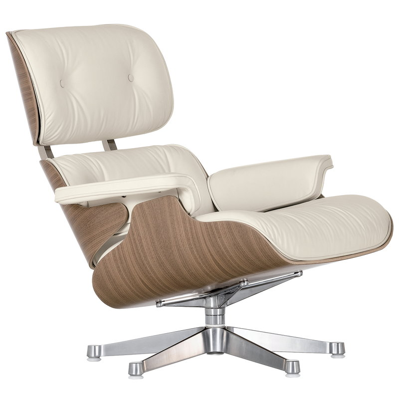 Vitra Eames Lounge Chair, classic size, white walnut - white leather