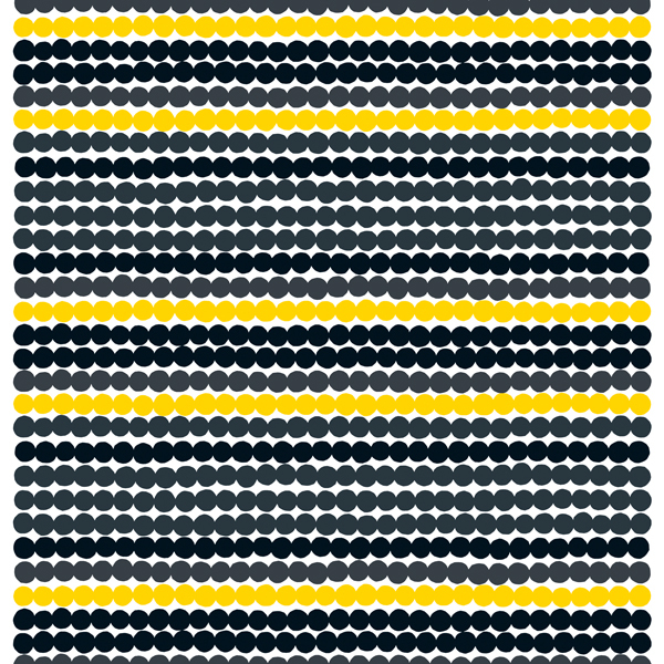 Marimekko Räsymatto fabric, black-yellow