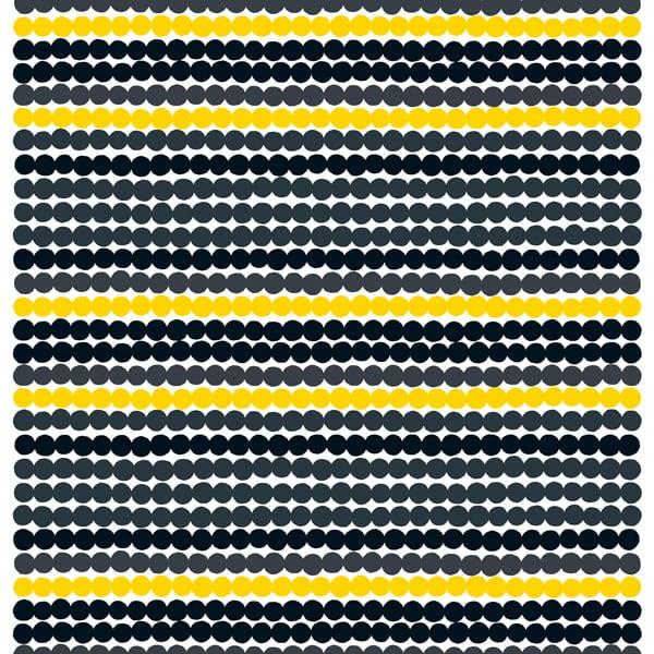 Marimekko Räsymatto kangas, musta-keltainen