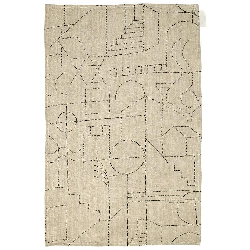 Saana ja Olli Unien talo tea towel/placemat, beige