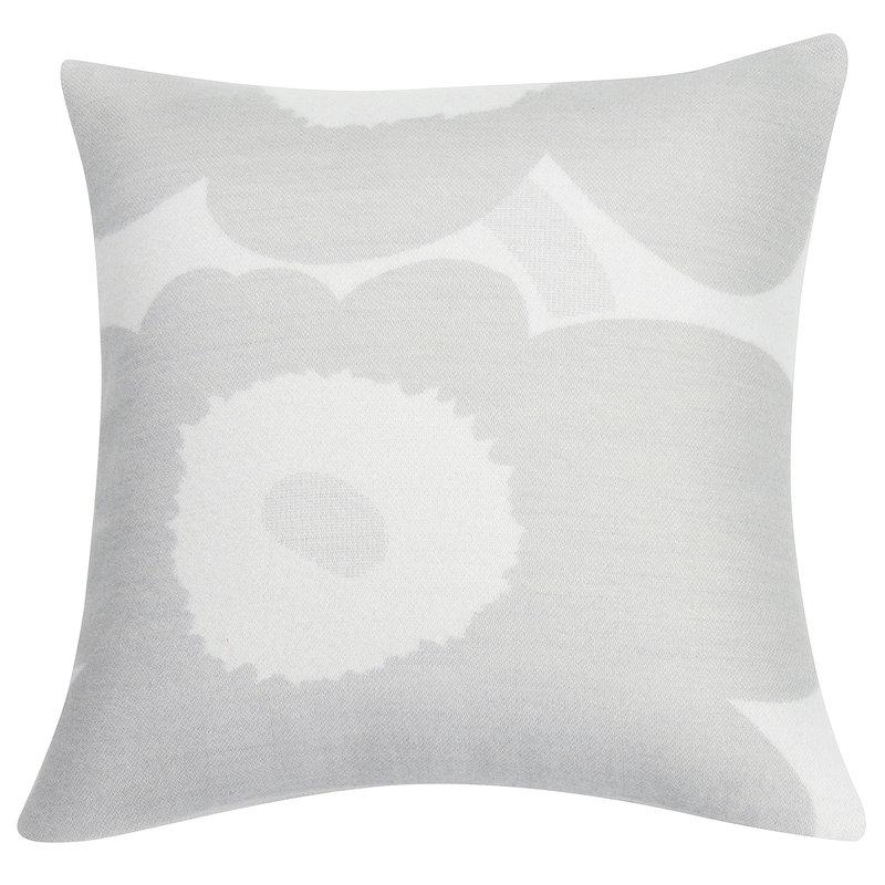 Marimekko Fodera per cuscino Unikko 50 x 50 cm, bianco - grigio chiaro