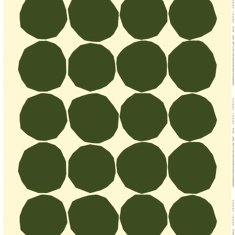 Marimekko Kivet linen fabric, ecru - dark green