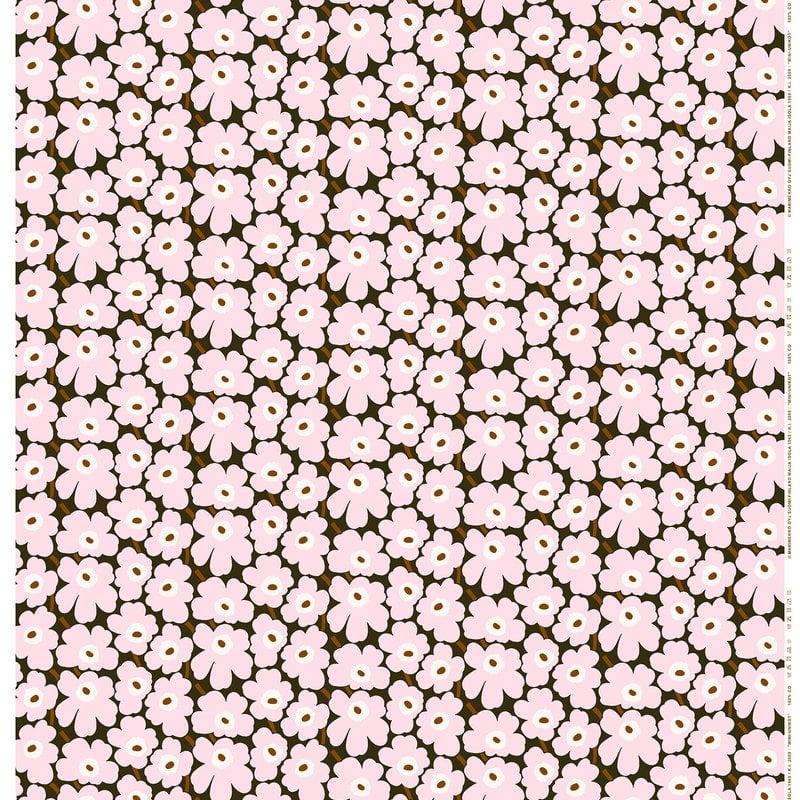 Marimekko Mini Unikko fabric, dark green - light pink - brown