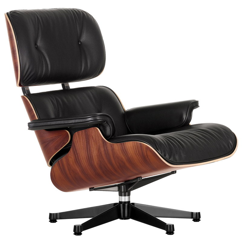 Vitra Eames Lounge Chair, classic size, palisander - black leather