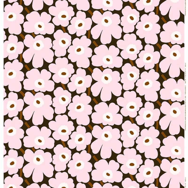 Marimekko Pieni Unikko fabric, dark green - light pink - brown