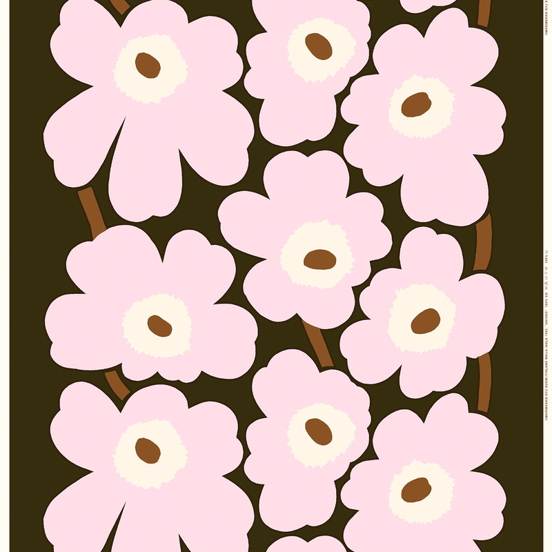 Marimekko Unikko Fabric Dark Green Light Pink Brown