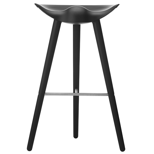By Lassen ML42 bar stool, 77 cm, black stained beech, stainless steel