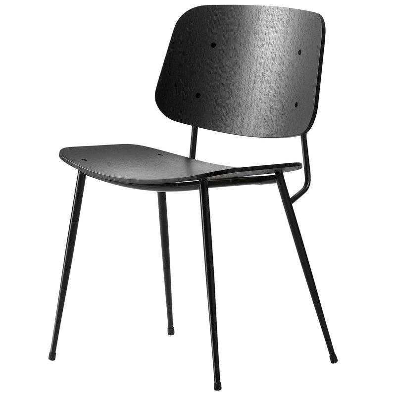 Fredericia Sedia Søborg 3060, base in acciaio nero, rovere nero