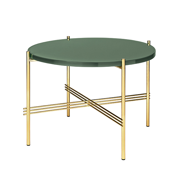 Gubi TS coffee table, 55 cm, brass - green glass