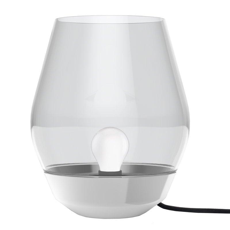 New Works Lampada da tavolo Bowl, acciaio - vetro fumé chiaro