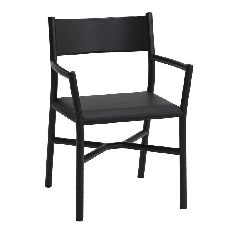 Ariake Ariake tuoli käsinojilla, musta - nahka