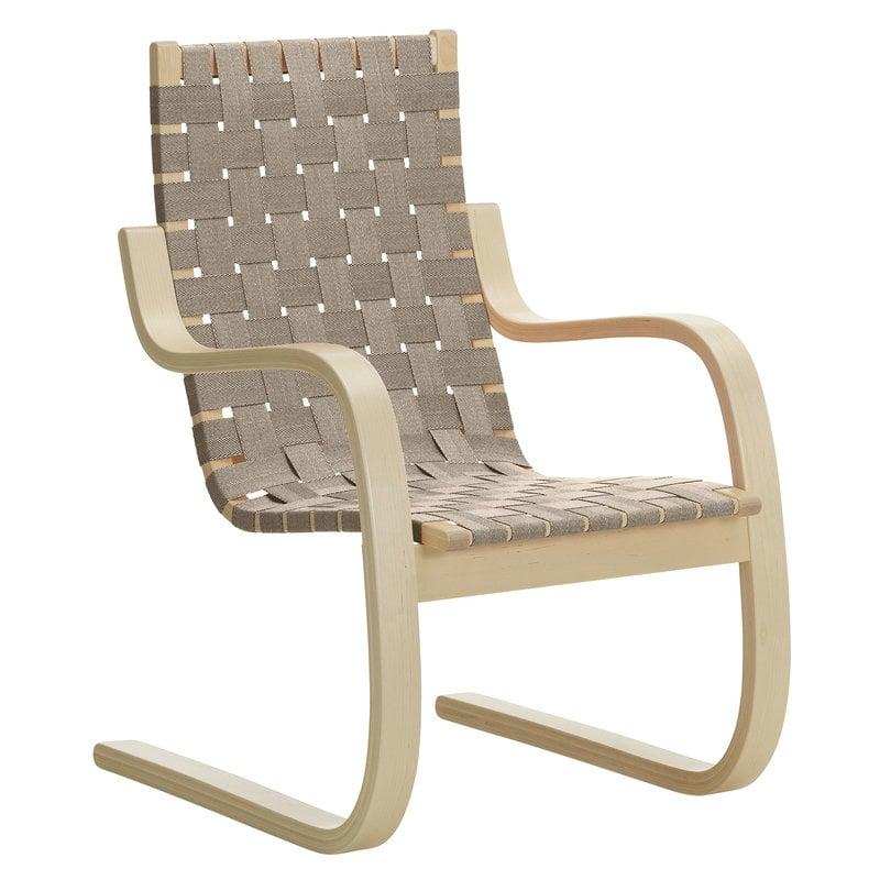 Artek Aalto armchair 406, birch - natural/black webbing