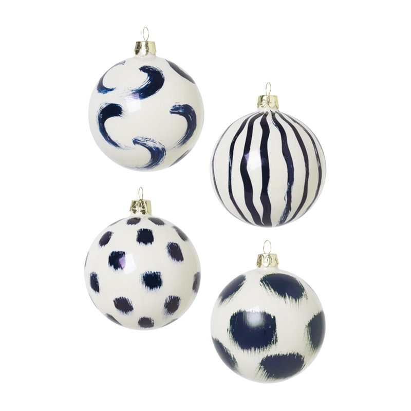 Ferm Living Christmas hand painted glass ornaments, 4 pcs, blue