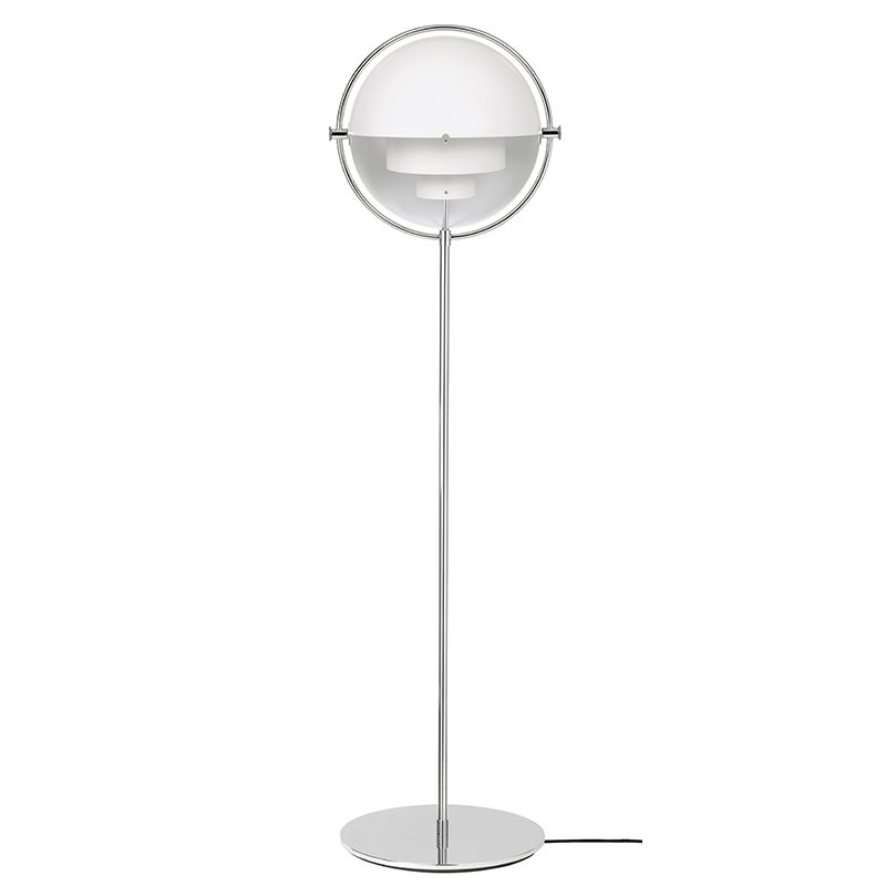 Gubi Multi-Lite floor lamp, chrome - white