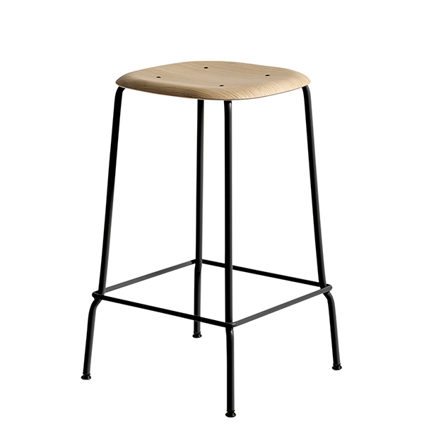 Hay Soft Edge Bar Stool 65 Cm Black Matt Lacquered Oak