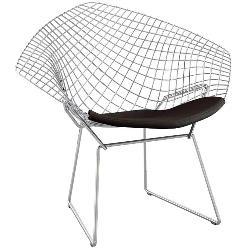 Knoll Bertoia Diamond tuoli, satiinikromi - musta istuintyyny