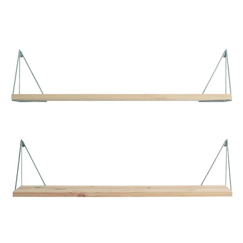 Maze Pythagoras Play shelf with brackets, 2 pcs, pine - chrome