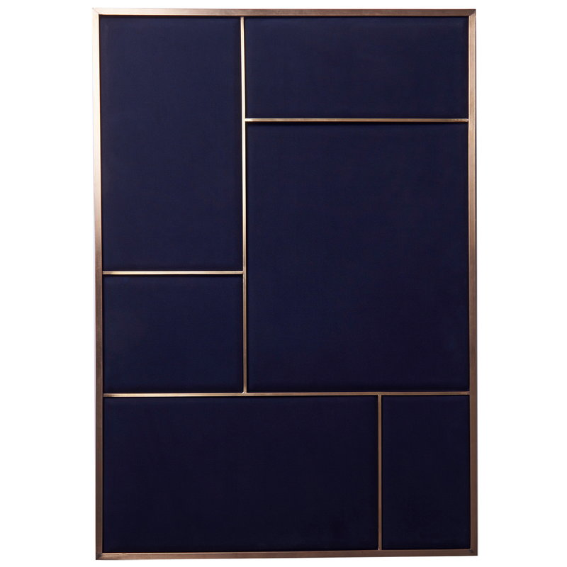 PLEASE WAIT to be SEATED Nouveau Pin board, large, brass - blue