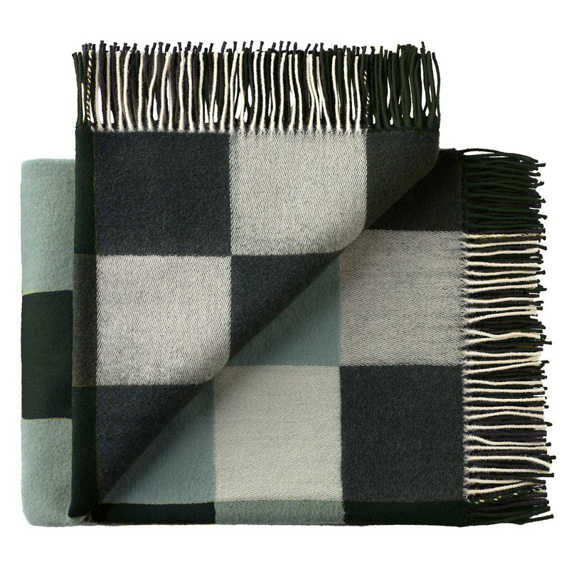 Silkeborg Uldspinderi Plain Beat throw, dark greens