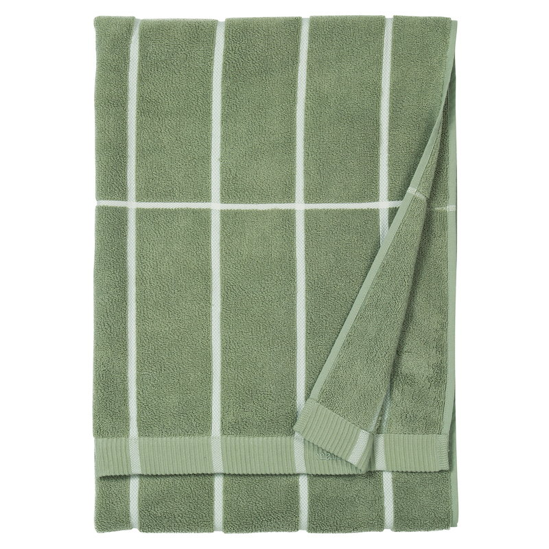 Marimekko Tiiliskivi kylpypyyhe, harmaanvihreä - valkoinen