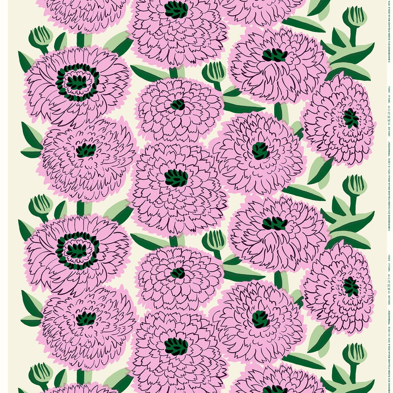 Marimekko Primavera fabric, off white - violet - green