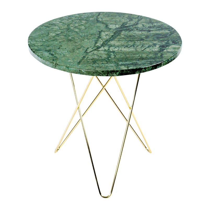 OX Denmarq Tall Mini O table, brass - green marble