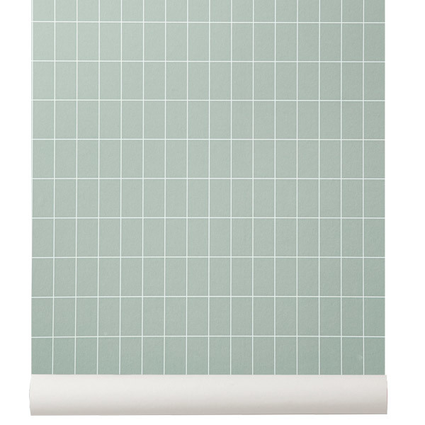 Grid Wallpaper Dusty Green