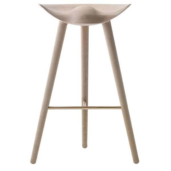 By Lassen ML42 bar stool, 77 cm, oak, brass