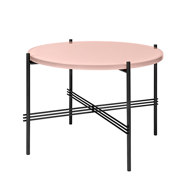 Gubi TS coffee table, 55 cm, black - pink glass