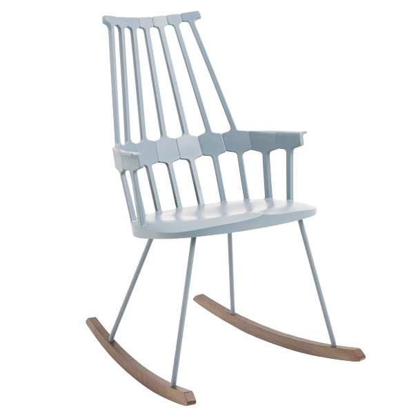 Kartell Comback rocking chair, blue grey