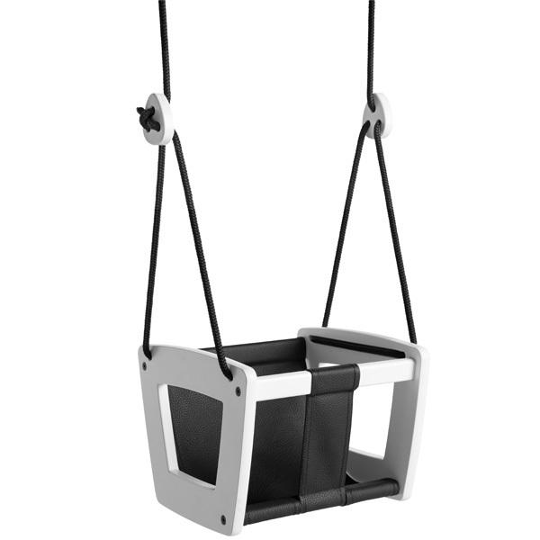 Lillagunga Lillagunga Toddler swing, white - black seat and rope