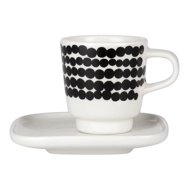 Marimekko Oiva - Siirtolapuutarha Räsymatto espressokuppi ja lautanen