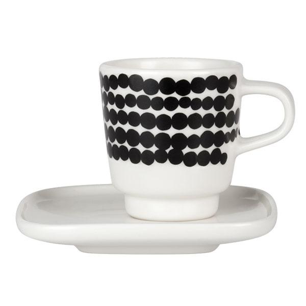 Marimekko Oiva - Siirtolapuutarha Räsymatto espresso cup and plate