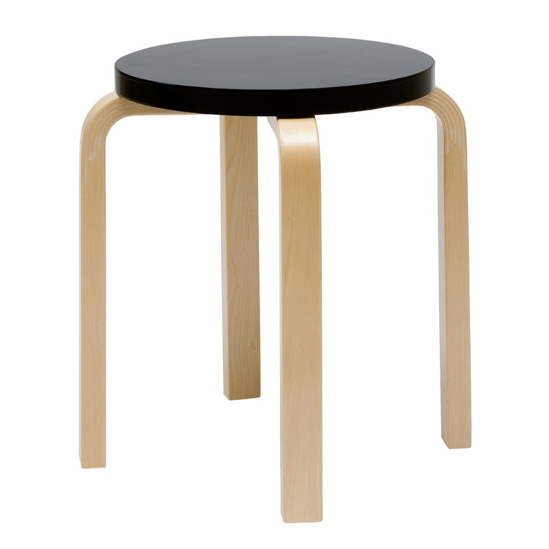 Artek Aalto stool E60, black - birch