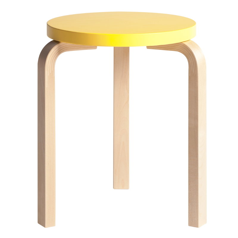 Artek Aalto stool 60, yellow - birch