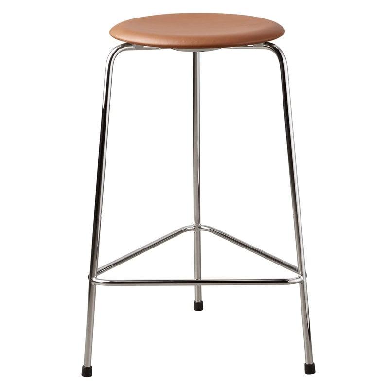 Fritz Hansen Dot high stool, walnut leather - chrome