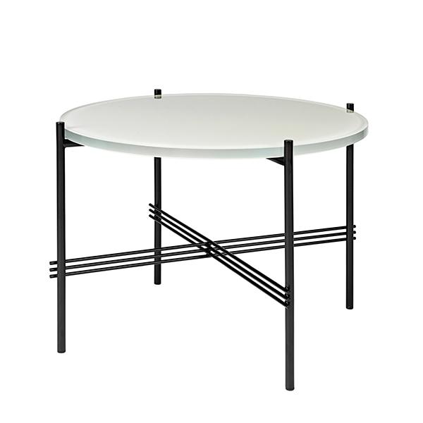 Gubi TS coffee table, 55 cm, black - white glass
