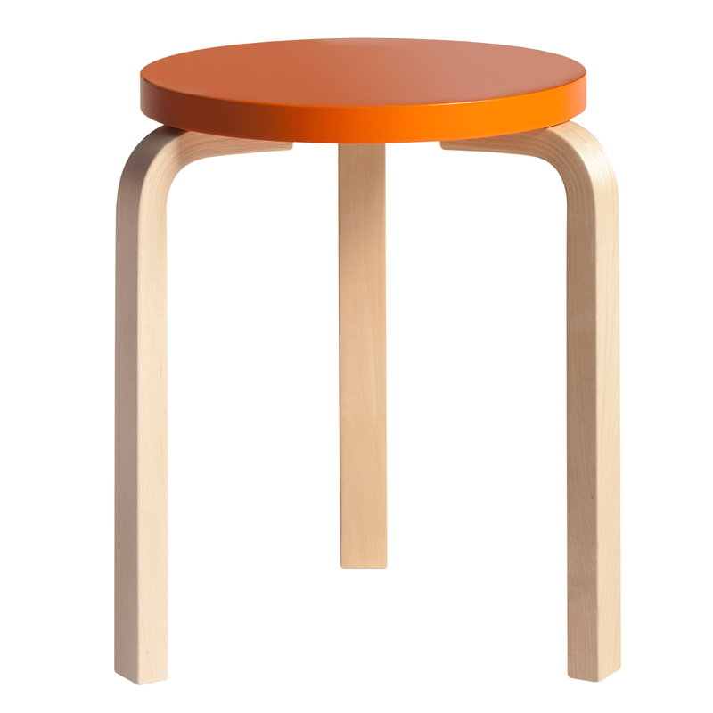 Artek Aalto stool 60, orange - birch